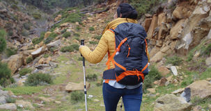 Active fit young woman on a hiking trail Royalty Free Stock Photography