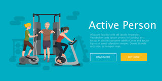 Active fitness person man and woman workout in gym Stock Image