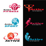 Active fitness and sport logo vector set design Stock Images