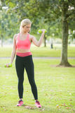 Active focused blonde lifting dumbbells Stock Photography