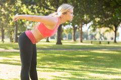 Active focused blonde stretching her body Stock Image