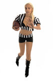 Active Footballl Girl. Active African American girl running with a football stock photos