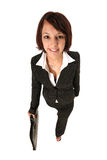 Active girl. Girl in pants suit walking forward at a brisk pace Royalty Free Stock Photos