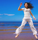Active girl in the air Stock Images
