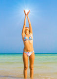 Active girl on a beach Royalty Free Stock Photography