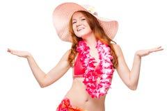Active girl in beach Hawaiian clothes posing. In studio Stock Photos