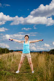 Active girl exercising outdoor Royalty Free Stock Photo