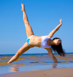 Active girl exercising in water Stock Images