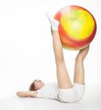 Active girl with gymnastic ball Stock Photo
