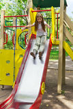 Active girl on nursery platform in summer Royalty Free Stock Images