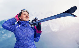 Active girl with snowboard on the snow mountain view Royalty Free Stock Photography