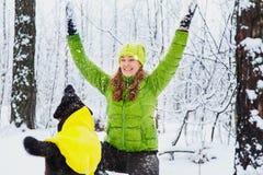 Active girl walk the dog. Stock Image