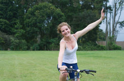 Active girl woman riding mountain bike Stock Images