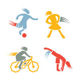 Active girls fitness sports set 2. Icons of children exercising healthy lifestyle vector illustration