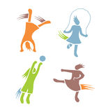 Active girls fitness sports set 3. Icons of children exercising healthy lifestyle Stock Photography