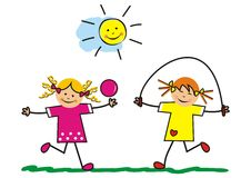 Active girls. Outdoor games. Girl with skipping rope and the girl with the balloon Royalty Free Stock Photos