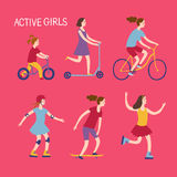 Active girls riding and playing outdoor Royalty Free Stock Photography
