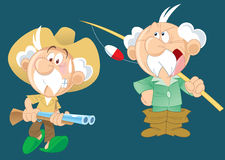 Active grandfather. The illustration shows an active aged man, who goes hunting and fishing.Illustration done on separate layers with a cartoon style Stock Images