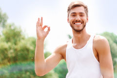 Active guy expressing positivity Stock Images