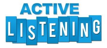 Active-hörende blaue Streifen Stock Abbildung