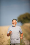 Active handsome senior man nordic walking outdoors Royalty Free Stock Photography