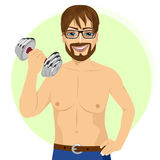 Active handsome young man practicing fitness exercise with dumbbell royalty free illustration