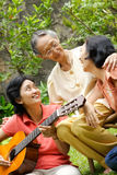 Active and happy Asian senior woman with daughter stock photo