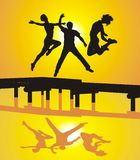 Active happy People. Vector illustration of young people jumping on the pier Stock Photo