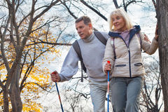 Active and happy senior couple stock image