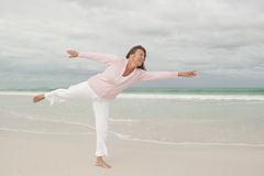 Active happy senior woman beach  Royalty Free Stock Photos