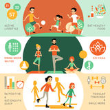 Active Healthy Lifestyle Horizontal Banners. With people and different activities for good health vector illustration Royalty Free Stock Image