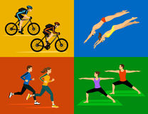 Active healthy lifestyle sport workout Set vector illustration