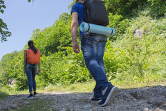 Active and healthy lifestyle on summer vacation and weekend tour. Active hikers. Travel adventure and hiking activity Stock Image