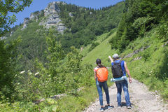 Active and healthy lifestyle on summer vacation and weekend tour. Active hikers. Travel adventure and hiking activity Stock Photos