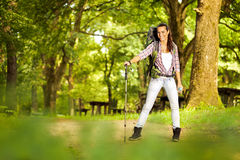 Active healthy woman hiking Stock Photo