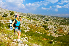 Active hiker girl Royalty Free Stock Images