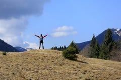 Active hiker is happy Stock Photos