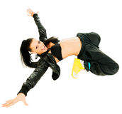 Active hip-hop dancer on white Royalty Free Stock Image