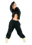 Active hip-hop dancer on white Royalty Free Stock Images