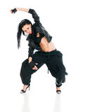 Active hip-hop dancer on white Stock Photography