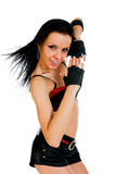 Active hip-hop dancer on white Stock Images