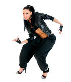 Active hip-hop dancer on white Royalty Free Stock Photos