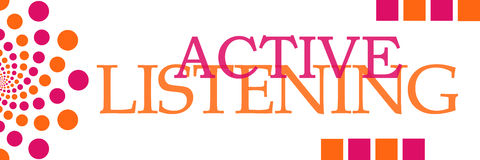 Active hörender rosa orange Dots Horizontal Stockfotografie