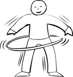 Active Hula Hooping Outline Royalty Free Stock Image