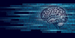 Active human brain artificial intelligence next level man menthal abilities. Big data binary numbers code.Technology royalty free illustration