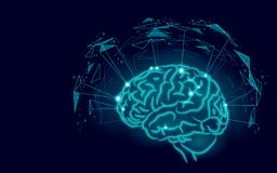 Active human brain artificial intelligence next level man menthal abilities. Technology Low Poly design augmented. Reality geometric shapes blue glowing. Symbol Royalty Free Stock Images
