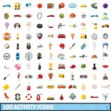100 active icons set, cartoon style. 100 active icons set in cartoon style for any design illustration royalty free illustration