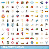 100 active icons set, cartoon style Stock Images
