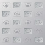 Active/inactive cloud  button set. With symbols Royalty Free Stock Image