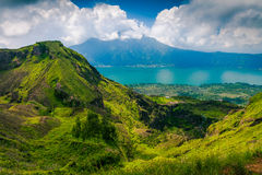 Active Indonesian volcano Batur in the tropical island Bali Royalty Free Stock Photo